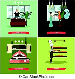Vector set of shops posters in flat style - Vector set of...