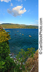 Lake Ohrid summer view. - Evening Lake Ohrid with boats...