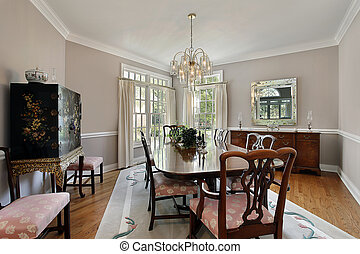 Dining room with gray carpet - Dining room in luxury home...