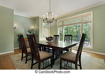 Dining room with green walls