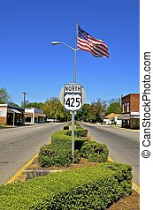 Main Street of a small American village - A small rural town...