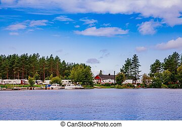 Trailer park at the lake in Finland - Trailer park at the...