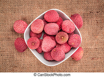 Portion of Lychees - Portion of fresh Lychees (close-up...