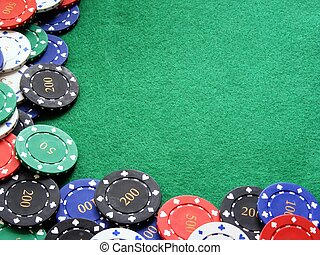 Poker chips on table background - A selection of diffirent...
