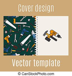 Cover design with constraction tools pattern - Cover design...