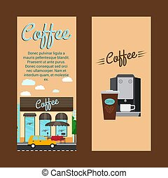 Coffee shop vertical flyers - Coffee vertical flyers with...