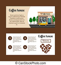 Coffee house horizontal flyers with shop building and...
