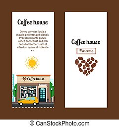 Coffee house vertical flyers with shop building and...