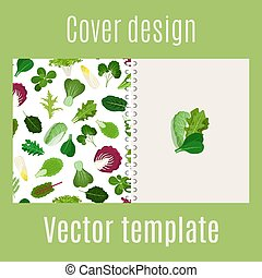 Cover design with salad leaves pattern - Cover design for...