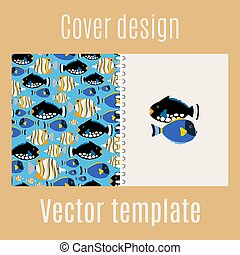 Cover design with sea fish pattern - Cover design for print...