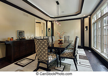 Dining room with tray ceiling - Dining room in luxury home...