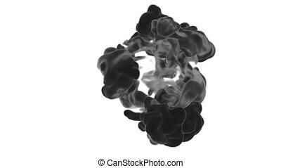 Abstract black Ink or smoke background with alpha mask. VFX...