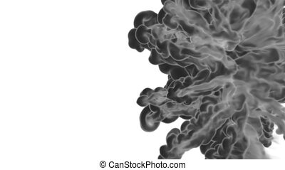 3d render black Ink in water or smoke with alpha mask for motion effects and compositing. Beautiful Ink clouds or smoke move in slow motion with luma matte. Version VFX 4