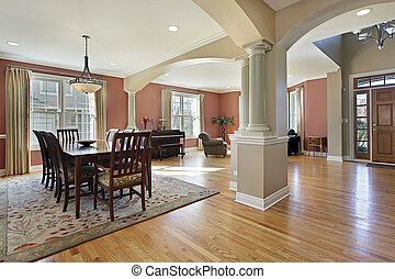 Dining room with open floor plan - Dining room in open floor...