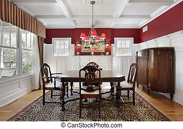 Dining room with red walls