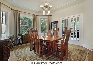 Dining room with french doors - Dining room in suburban home...