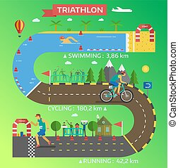 Triathlon race infographic vector.
