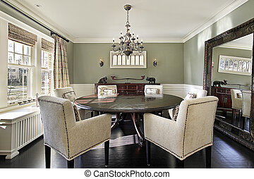 Dining room with olive walls - Dining room in luxury home...
