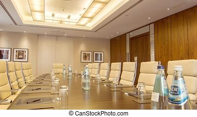 Big conference room with modern lights - Business etiquette....