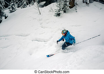 girl with special ski equipment is riding and jumping very...