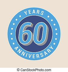 60 years anniversary vector icon, emblem. Design element...