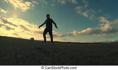 soccer. Two men play soccer football sport silhouettes...