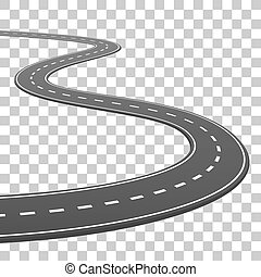 The road goes into the horizon, road on a transparent background, Vector illustration
