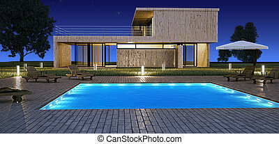 Modern house with pool - Modern house with swimming pool in...