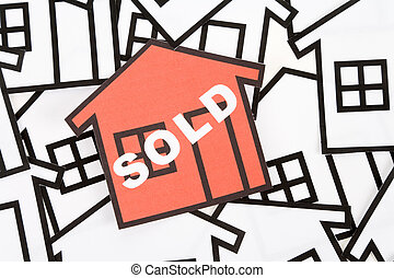 Real Estate Concept - a red home sign, Real Estate Concept