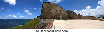San Cristobal Fort - A wide angle panoramic view of the...