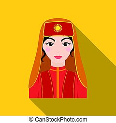 Turkish woman icon in flate style isolated on white background. Turkey symbol stock vector illustration.
