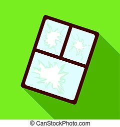 Broken window icon in flate style isolated on white...