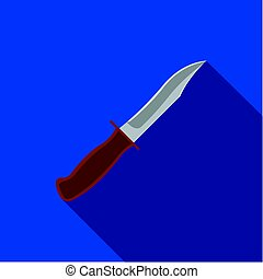 Military combat knife icon flate. Single weapon icon from the big ammunition, arms set.