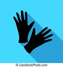 Black protective rubber gloves icon flate. Single tattoo...