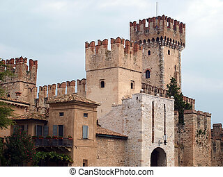 Sirmione castle - Old castle in the Sirmione, Italy...
