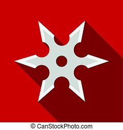 Metal shuriken icon flate. Single weapon icon from the big...