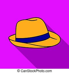 Panama hat icon in flate style isolated on white background....