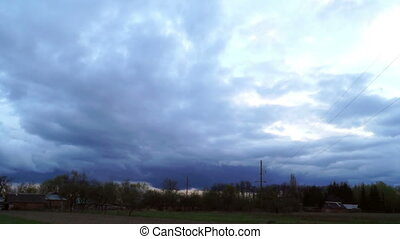 Sky nature rain clouds - Village and nature in bad weather,...