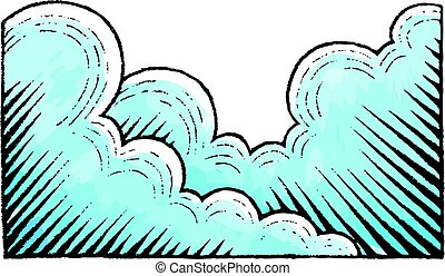Ink and Watercolor Sketch of Clouds - Vector Illustration of...