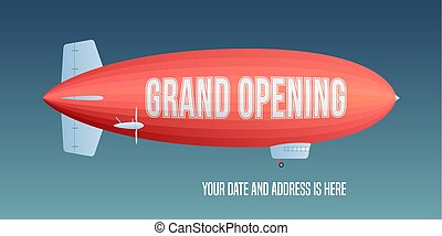 Vector retro zeppelin with grand opening advertising on it....