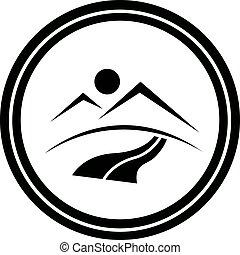Emblem of mountains. - Circle logo emblem of mountains, road...