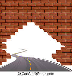 The asphalted road and brick wall
