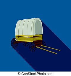 Cowboy wagon icon flate. Singe western icon from the wild...