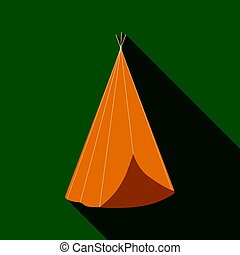 Wigwam icon flate. Singe western icon from the wild west...