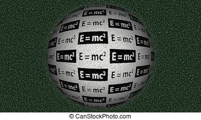 Decorative black, white and green video with rotating sphere and equation E=mc2 (theory of relativity)