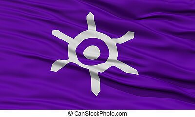 Closeup of Tokyo Flag, Capital of Japan Prefecture, Waving...
