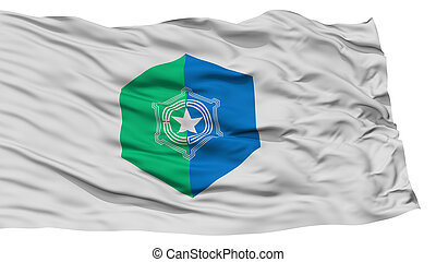 Isolated Sapporo Flag, Capital of Japan Prefecture, Waving...
