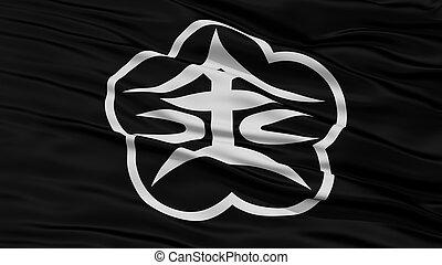 Closeup of Kanazawa Flag, Capital of Japan Prefecture,...
