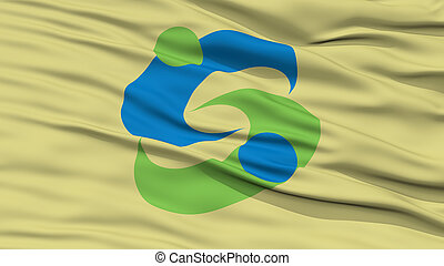 Closeup of Saga Flag, Capital of Japan Prefecture, Waving in...