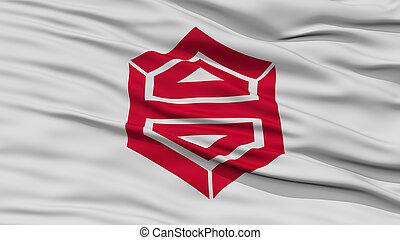 Closeup of Kochi Flag, Capital of Japan Prefecture, Waving...